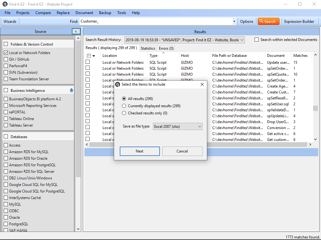 Search Crystal Reports and SQL Databases